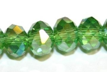 72pcs x 10mm Green with AB coating rondelle faceted glass beads -- S.J -- 3005715